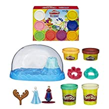 Play-Doh Disney Frozen Sparkle Snow Dome Set with Elsa and Anna + Play-Doh Rainbow Starter Pack 16oz - Bundle of 2 Items