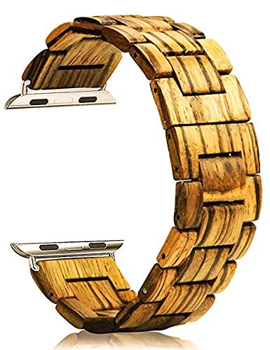 Wood Band for Apple Watch Eco-Friendly Handmade Zebra Wood Watch Band Apple 42mm with Watch Repair Tool Kit