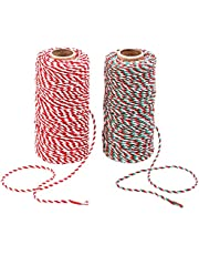 Benvo 2-Pack Red White Green Cotton Twine and Red White Packing String Heavy Duty Rope Ribbon Cord for Baking, Butchers, DIY Crafts and, 656 ft Long