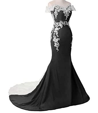 Hearlover Womens Off-The-Shoulder Prom Dresses Lace Applique Prom Bridesmaid Dresses