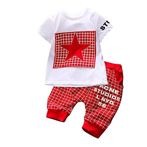 2Piece Toddler Infant Kids Boys Girl Outfits Set,O-Neck Short Sleeve Star Print T-Shirt Plaid Pants Clothes Suit Red]()