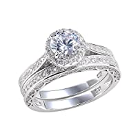 Newshe Jewellery Alice 2.4 Carat Round White CZ 925 Solid Sterling Silver Wedding Band Engagement Ring Set by Newshe Jewellery