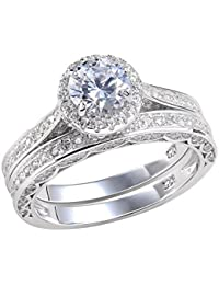 Alice 2.4 Carat Round White CZ 925 Solid Sterling Silver Wedding Band Engagement Ring Set