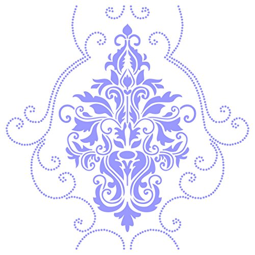 """Damask Stencil - (size 14""""w x 14""""h) Reusable Wall Stencils for Painting - Best Quality Wall Art Décor Ideas - Use on Walls, Floors, Fabrics, Glass, Wood, Terracotta, and More..."""