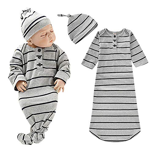 Newborn Baby Sleeper Gown Striped Cotton Nightgowns Knotted Newborn Sleepers for Baby Girls and Boys