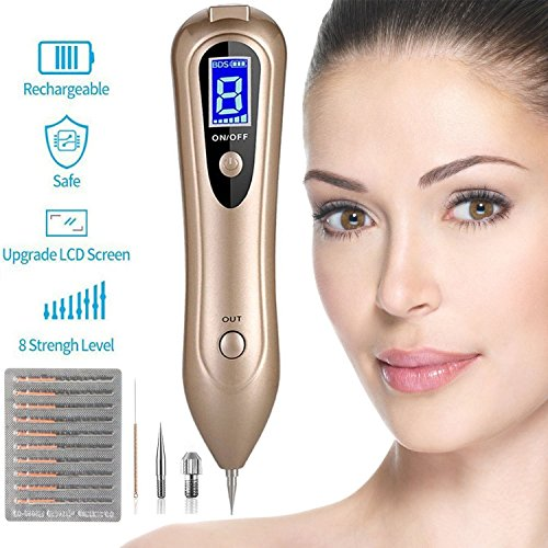 Mole Removal Pen, Portable USB Charging 8-Gears Skin Tag Mole Remover Machine with Needles & LCD for Spot Tatto Freckles Nevus Mothers Day Gift, Gold