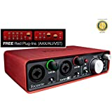 Focusrite Scarlett 2i2 2-in, 2-out USB 2.0 Audio Interface with Two Focusrite Mic Preamps, Red Plug-ins and 1 Year Free Extended Warranty