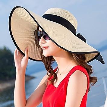 Ktfactory Mujeres del verano sombreros para el sol para de ala ancha puede plegarse  sombrero de paja beach a425e0eb87e