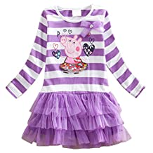 LEMONBABY Peppa Pig Cartoon Little Girls Spring Fall Long Sleeve Tutu Dress