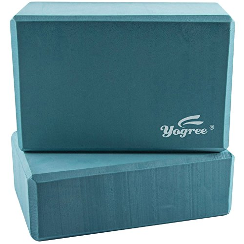 Yogree (2-PC) Yoga Blocks, 9'x6'x4' - High Density EVA Foam Brick Provides Stability Balance & Support, Improve Strength and Deepen Poses - Great for Yoga, Pilates, Workout, Fitness & Gym (Turquoise)