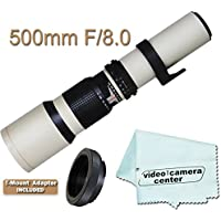 500mm F/8.0 Telephoto Zoom Lens For NIKON D3200 D800 D7000 D5100 D3100 D3000 D5000 D3000 D90 D40 D40X D7100 + VCC113 Micro-Fiber Cloth + T-Mount