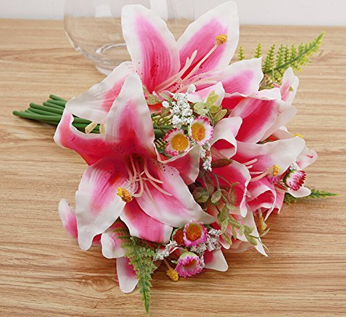 Beautiful Pink Lilies (Meiliy 13'' Silk Artificial Calla Lily Flower Bouquet for Home Wedding Office Party Memorial Decoration,)