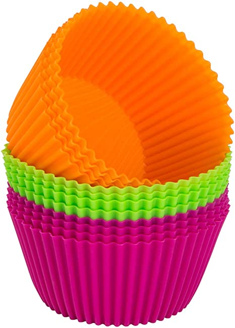 Jumbo Silicone Baking Cups Premium 12 Piece Set Reusable Muffin Cupcake Pans