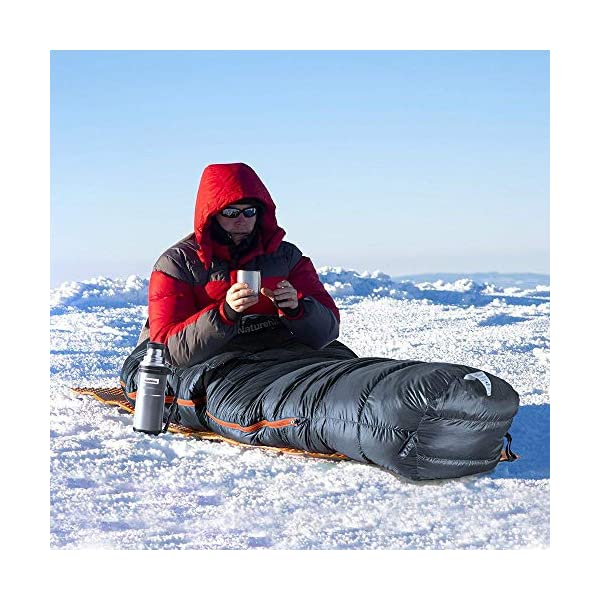 Naturehike Ultralight White-Duck-Down Degree 50/32 F Sleeping Bag for Backpacking, Most Compact Down Filled Lightweight Mummy Sleep Bag for Backpack 4 Season 7