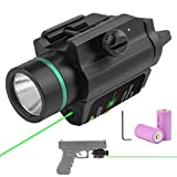 Feyachi Green Laser Sight + 200 Lumen Flashlight Combo with Compact Rail Mount for Hunting RiflePistolHandgun