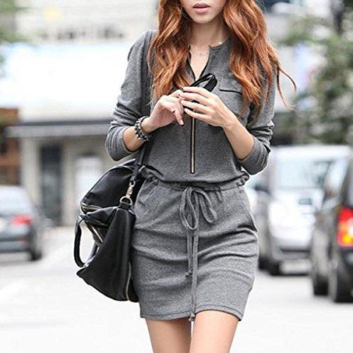 Easy Provider® New Gray Women Crew Neck Long Slipper Dress Summer Casual S