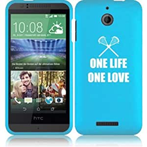 HTC Desire 510 Snap On 2 Piece Rubber Hard Case Cover One Life One Love Lacrosse (Light Blue)