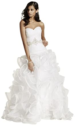 6244e0ad Ruffled Skirt Wedding Gown with Embellished Waist Style SWG492, Ivory, 4