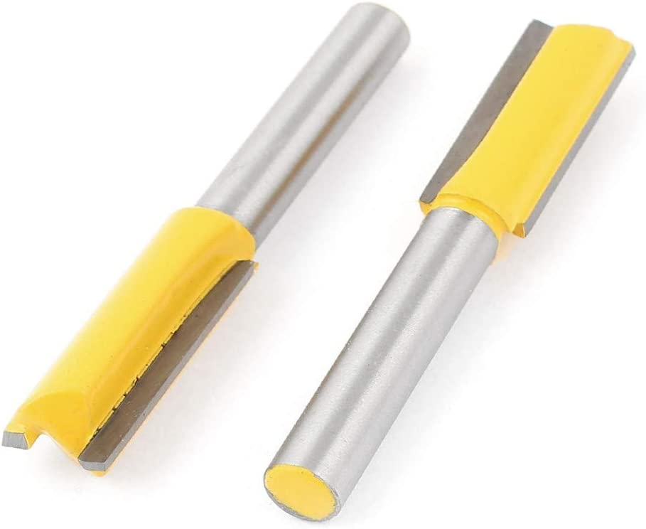 New Lon0167 1//4 drill Featured hole 3//8 Cutting reliable efficacy Diameter Straight Router Bit Yellow 2 Pcs id:b48 3f 73 5d8
