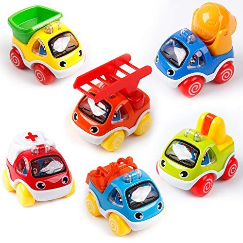 Pengpo おもちゃプルバックカー 6個パック ミニ建設車両セット 車おもちゃ 男の子のパーティーの記念品 幼児 子供へのギフト 救急車 梯子、トラクター ダンパー セメントミキサー クレーン