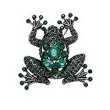 SENFAI Charm Green Frog Fashion Jewelry Pin Brooch (Antique silver)
