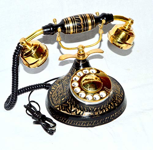 royalantique Black Wood,Brass Antique French Victorian Halloween Style Rotary DIAL Phone -