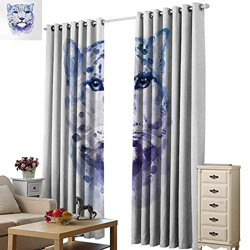 (Homrkey Windshield Curtain Animal Big Wild Cats Themed Print Watercolor Style Leopard Illustration Jungle Wildlife Blackout Draperies for Bedroom Window W84 xL96 Violet White)