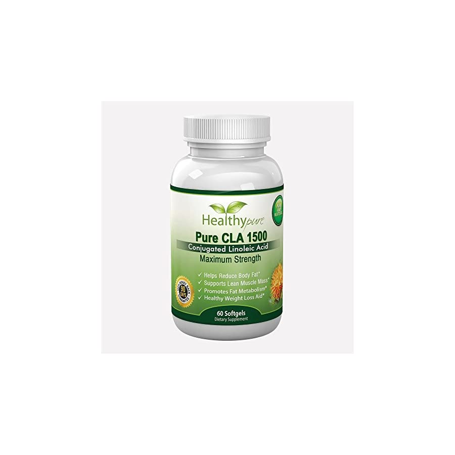 Pure CLA 1500 Extra Strength CLA Pills From Safflower Oil ,3000 mg Per Serving, 60 Vegetarian Softgels.Helps Reduce Belly Fat And Supports Healthy Weight Loss. Made In The USA And Comes With 100% Satisfaction Money Back Guarantee.
