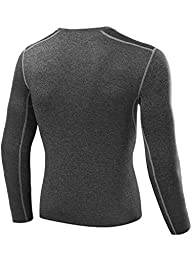 Neleus Men\'s 3 Pack Athletic Compression Sport Running T Shirt Long Sleeve Base Layer,Black,Grey,Whie,Large