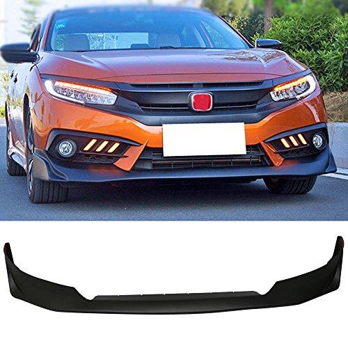 Front Bumper Lip Spoiler Fits 2016-2018 Honda Civic | JS Style Black PU Lip Spoiler Bodykit Splitter Diffuser Air Dam Chin Diffuser by IKON MOTORSPORTS | 2017