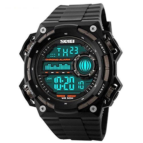 Men's Big Digital 50M Waterproof Electronic Unique Round Sport Watch Large Face Sillicone Band Heavy Duty Army Military 24H Time LED Back Light 164FT Water Resistant Calendar Date Day -Titanium Black - Watch Large Face