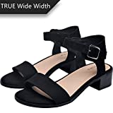 Luoika Women's Wide Width Heeled Sandals -Classic Chunk Low Heel Pump Ankle Strap(180309,Black,8WW)