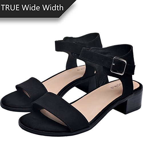 Luoika Women's Wide Width Heeled Sandals -Classic Chunk Low Heel Pump Ankle Strap(180309,Black,8.5WW)