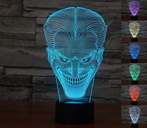 (Lmeison 3D Illusion Joker Night Light with USB Cable, 7 Color Change Decor Lamp for)