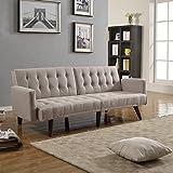 Amazon Com Arie Tufted Fabric Sofa Bed With Chrome Legs