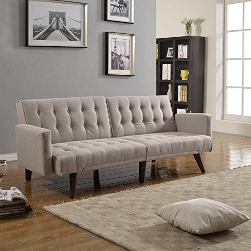 Modern Tufted Linen Split back Recliner Sleeper Futon Sofa in Beige, Dark Grey, Red (Beige)