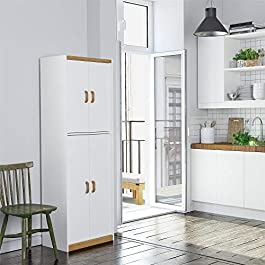Ameriwood Home White Deluxe Four Door Pantry Cabin...