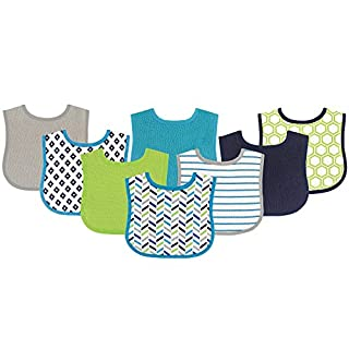 Luvable Friends Unisex Baby Cotton Terry Bibs, Geometric Boy, One Size 8-Pack