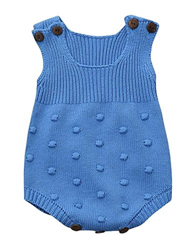 4eac1e0ef6b Eiffel Direct Baby Girls Boys Knitted Striped Spot Romper Sleeveless Vest  Jumpsuit Bodysuit