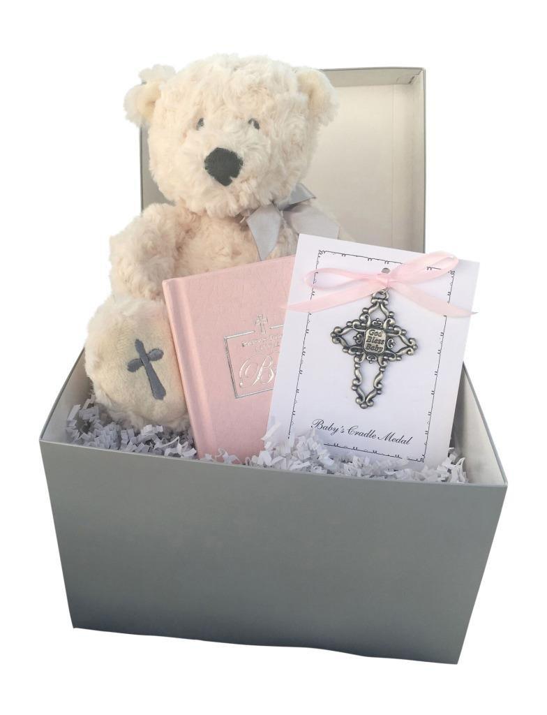 Christening Gift Set Pink Bible, Teddy Bear, and Pink Metal Cross