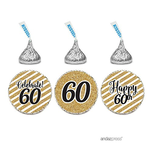 Andaz Press Milestone Chocolate Drop Labels Trio, Fits Hershey's Kisses Party Favors, Celebrate 60, 60th Birthday or Anniversary, 216-Pack, Printed Gold Glitter, Not Real Glitter
