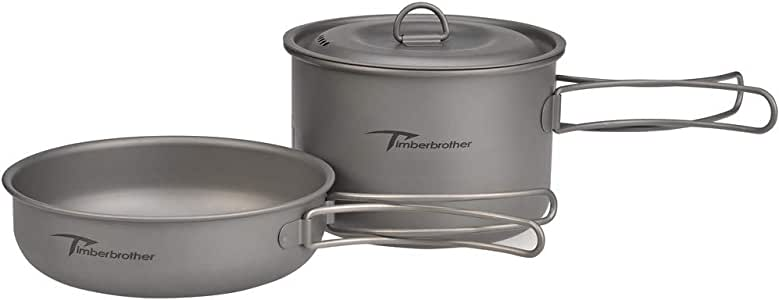 Timberbrother Camping Cookware Mess Kit with Lightweight Folding Camping Pots and Pans Set