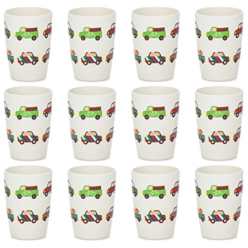 - Tiny Dining Children's Bamboo Fibre Juice Kids Cup - Cars - Pack of 12
