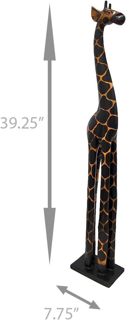 Amazon Com 3 Foot Tall Hand Carved Wooden Giraffe Statue Decor Home Kitchen