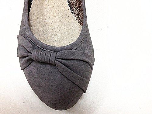 Mujeres botas con zapatos de tacón A283 cuña, color GRIS