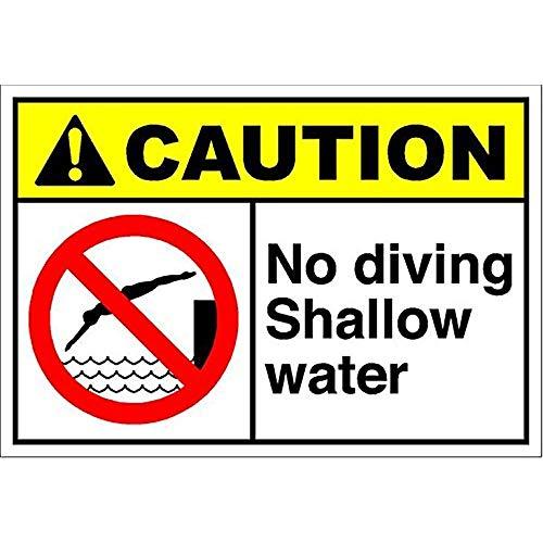 - Dreamawsl Notice Board No Diving Shallow Water Caution/Ansi Aluminum Metal Sign.12 x 8 tin Sign
