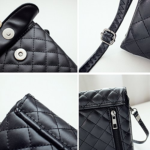 Strap Haute Crossbody Black Leather Cellphone With Purse Bag Girl Pouch La Women Mini Plaid Pu Stylish Adjustable AZqpfwp
