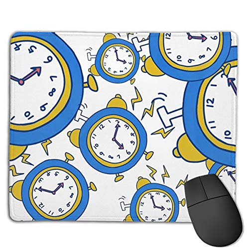 Mouse Pad Clock Elements Rectangle Rubber Mousepad 8.66 X 7.09 Inch Gaming Mouse Pad with Black Lock Edge