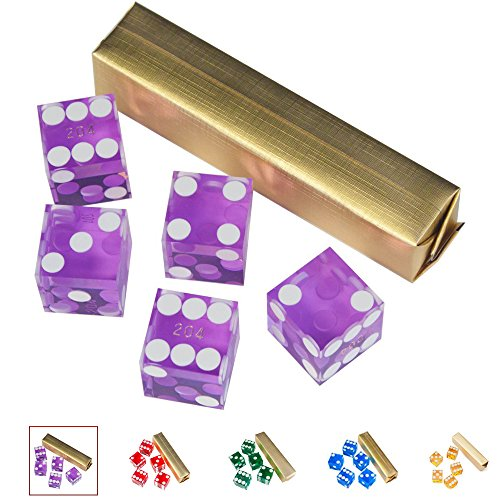 (GSE Games & Sports Expert Set of 5 Poker Craps 19mm Serialized Casino Dice (Purple))