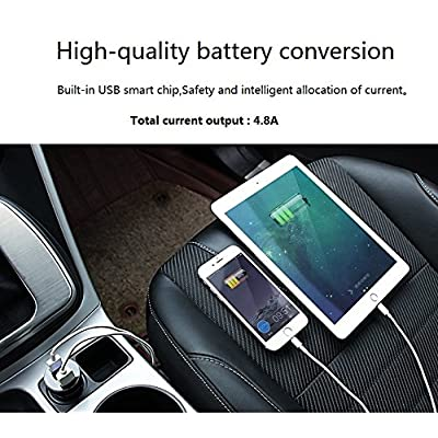 Dual USB Car Charger,Output 4.8A Car Adapter,Cigarette Lighter Voltage Meter Compatible for iPhone,iPad,Samsung,LG,Google Nexus,Other USB Devices,Black